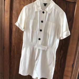Ann Taylor Ivory Button Up Romper